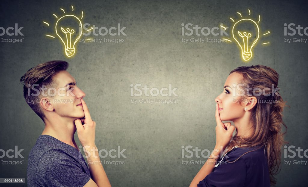 Content couple having great idea stock photo