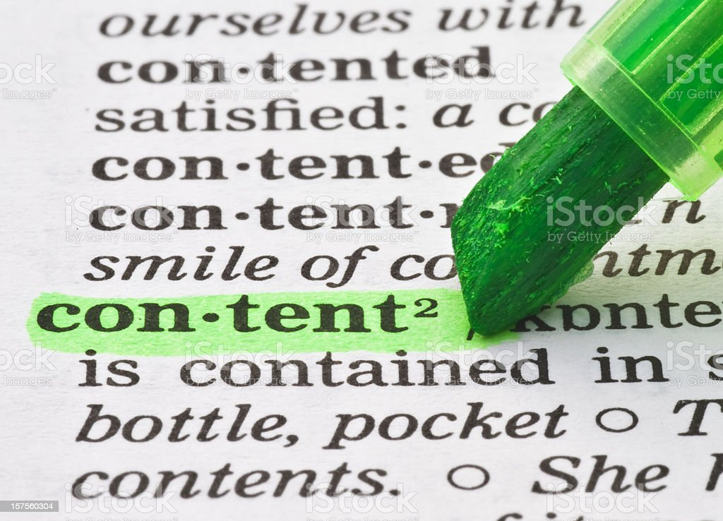 content definition tagged in dictionary stock photo