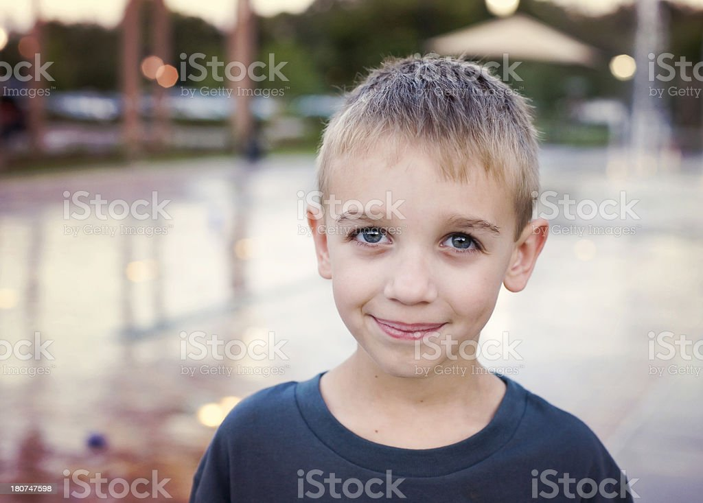 Content Happy Boy Outdoors royalty-free stock photo