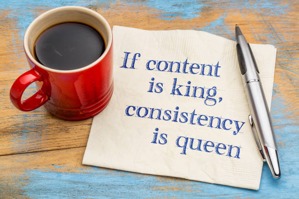 Content is king, consistency queen stock photo