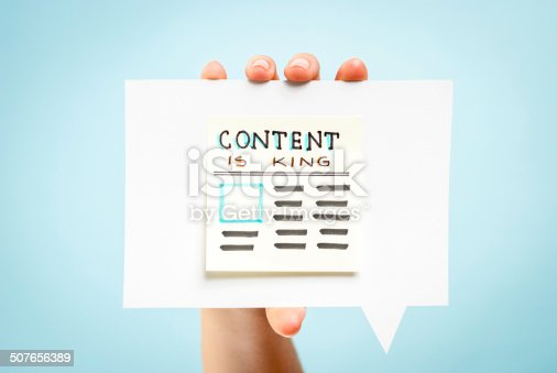 Content is king message concept on blue background