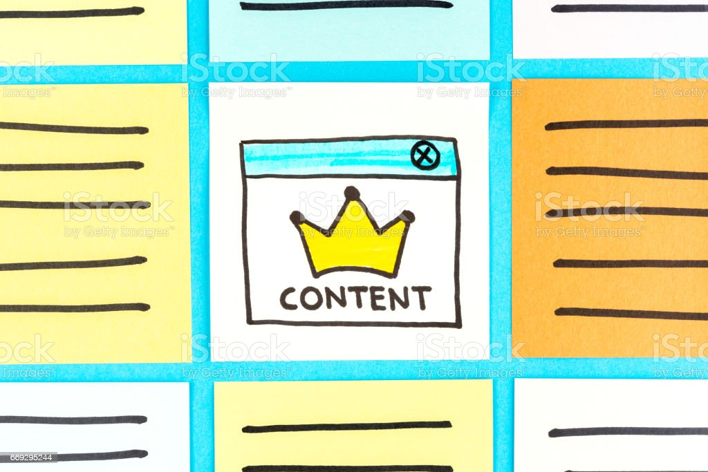 Content king illustration on paper note. Sponsored, promoted, paid post. Digital marketing and native advertising. stock photo