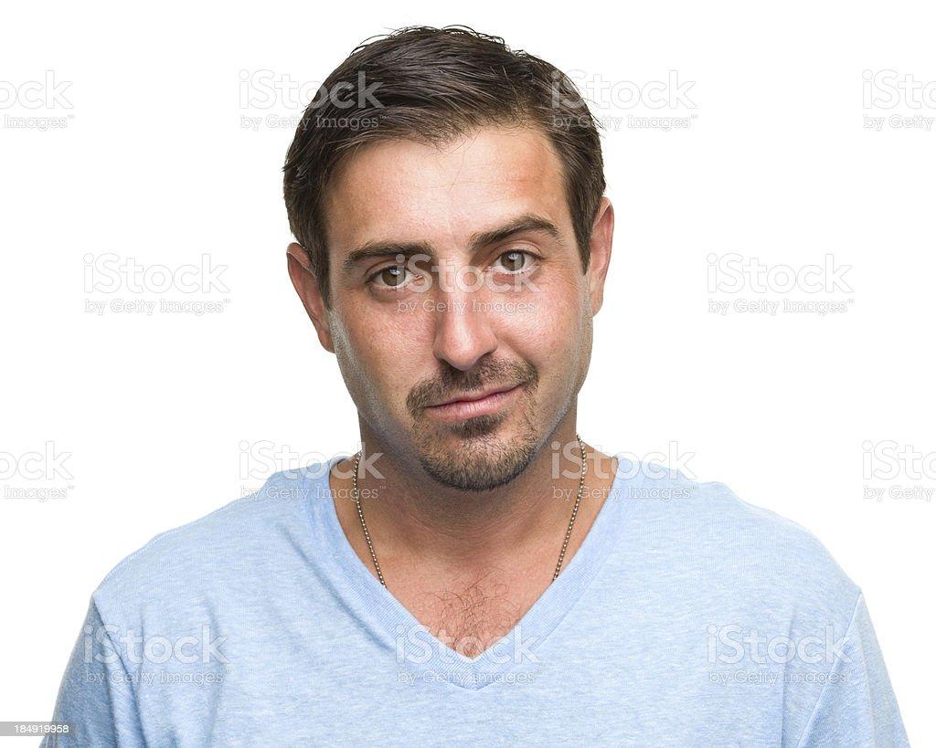 Content Man Half Smile Portrait stock photo