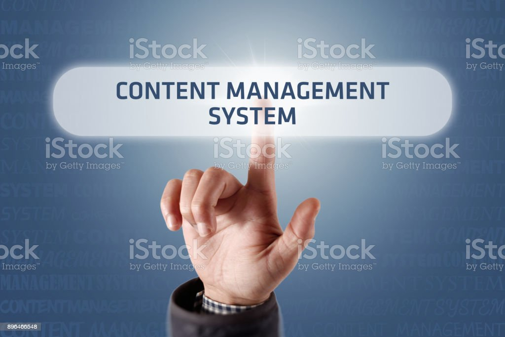 Content Management System - Touch Screen Concept stock photo