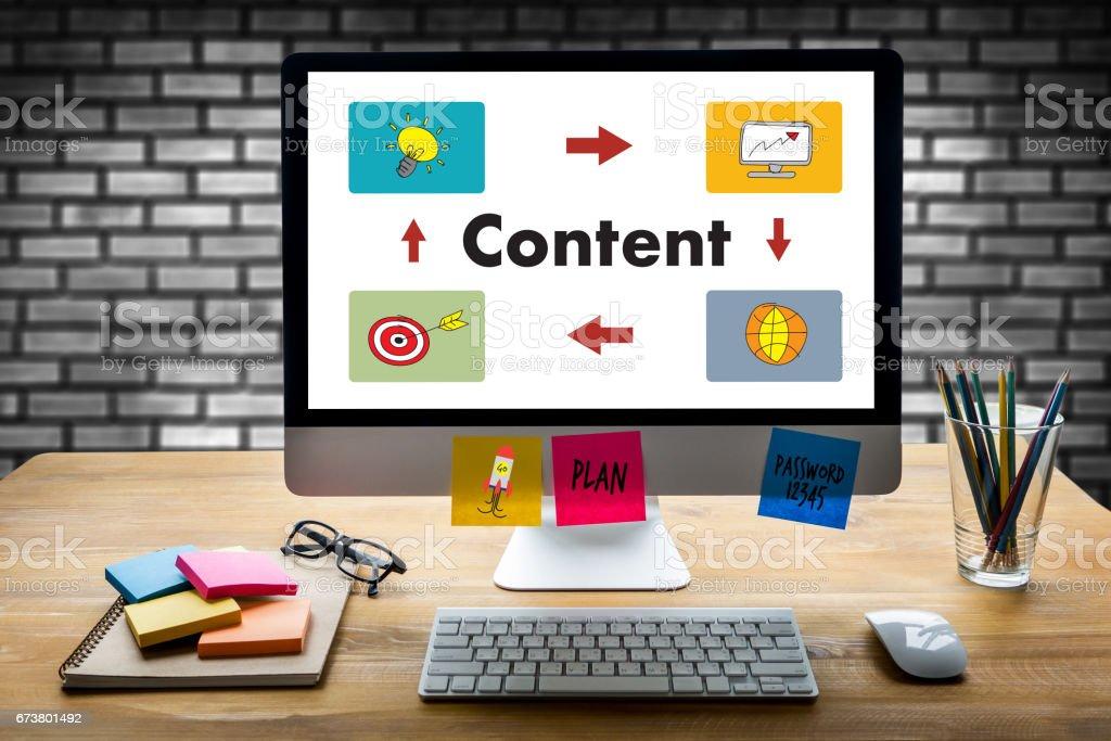 Content-marketing-Inhalte Daten Blogging Medien Publikation Informationen Vision Concept – Foto