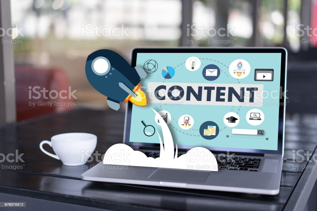 contenido contenido datos blogs medios publicación información visión concepto de marketing - foto de stock