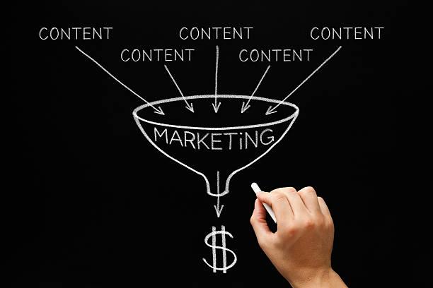 content marketing funnel concept - inbound marketing imagens e fotografias de stock