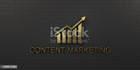 istock Content Marketing Gold Growth Bar. 3D Render illustration 1056915264