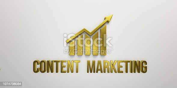 istock Content Marketing Gold Growth Bar on White Background. 3D Render illustration 1074738034