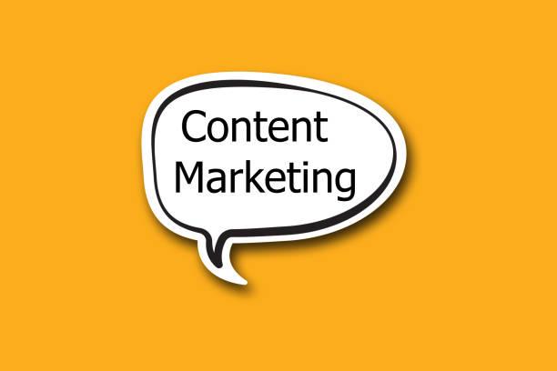 Content Marketing word written talk bubble stock photo