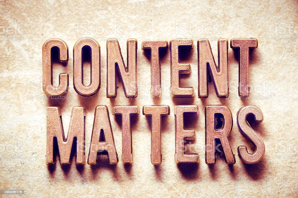 content matters stock photo