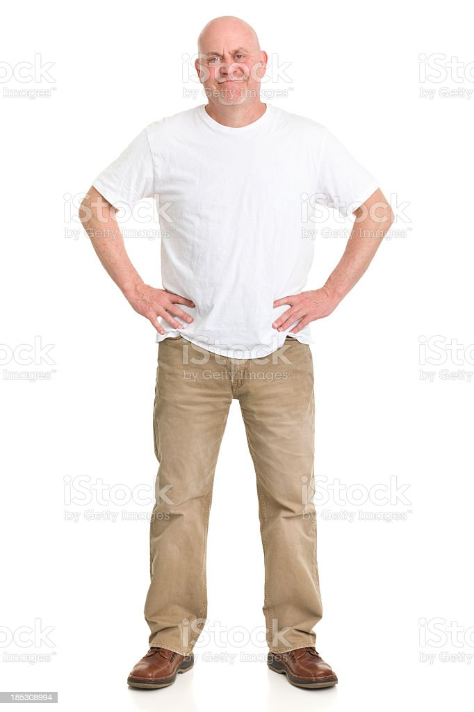 Content Mature Man Full Length Portrait stock photo