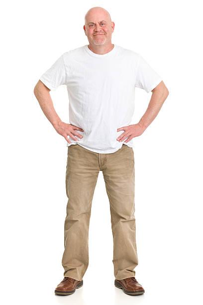content mature man full length portrait - korte mouwen stockfoto's en -beelden