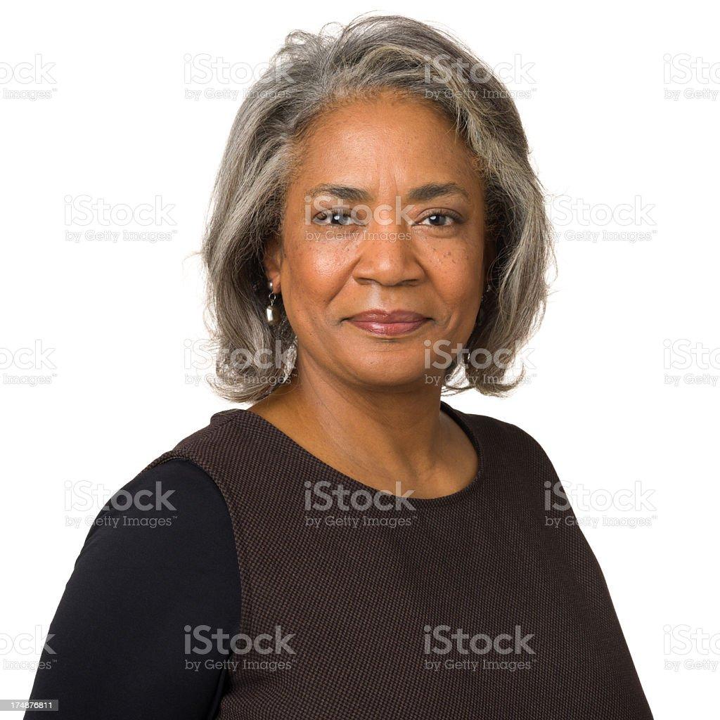 Content Mature Woman Portrait stock photo