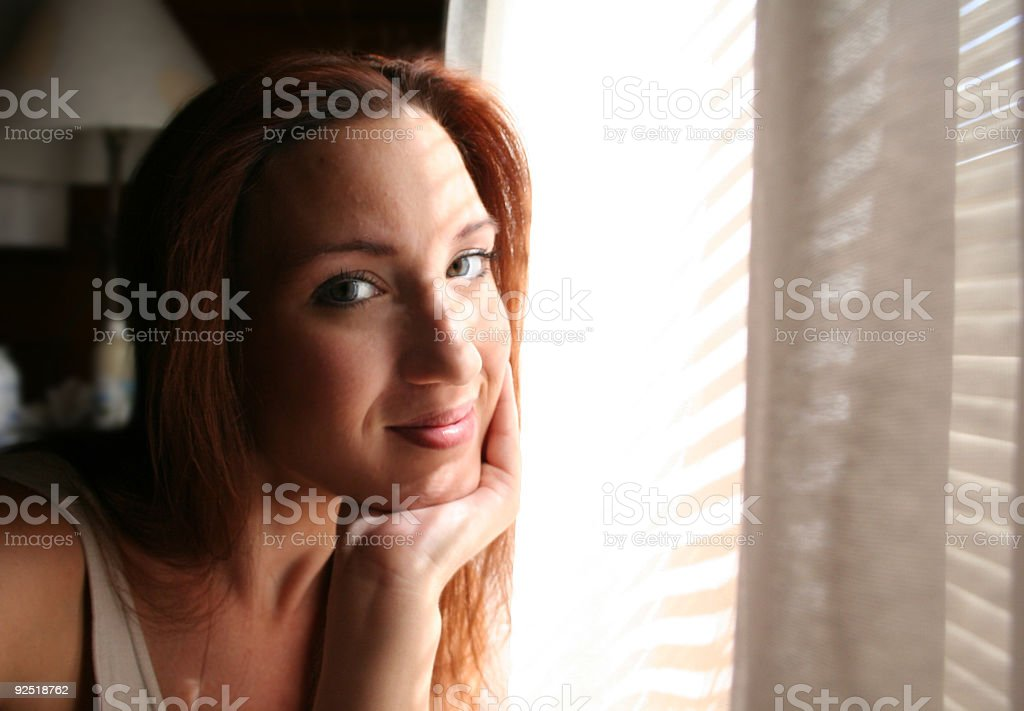 Content Redhead stock photo