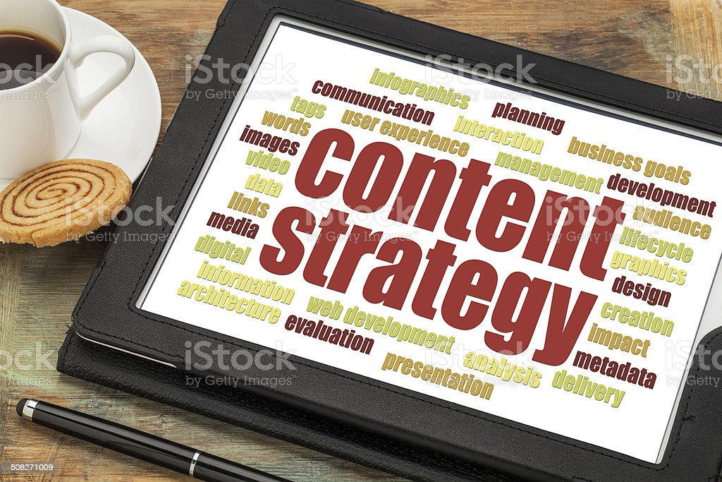 content strategy word cloud stock photo