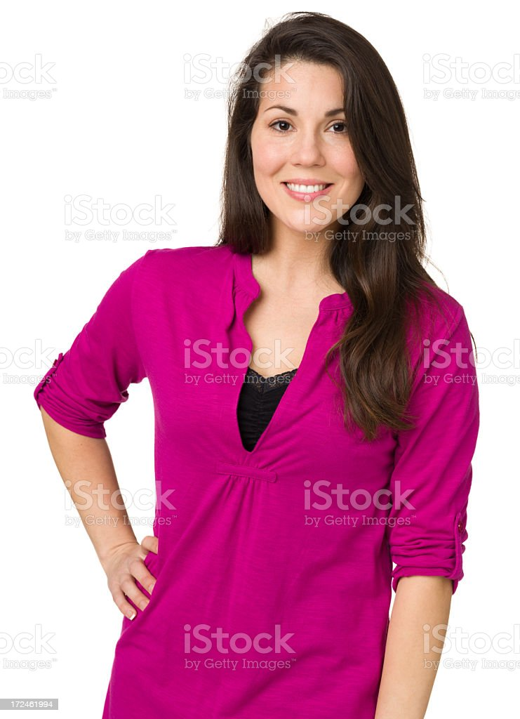 Content Woman Posing, Hand On Hip royalty-free stock photo