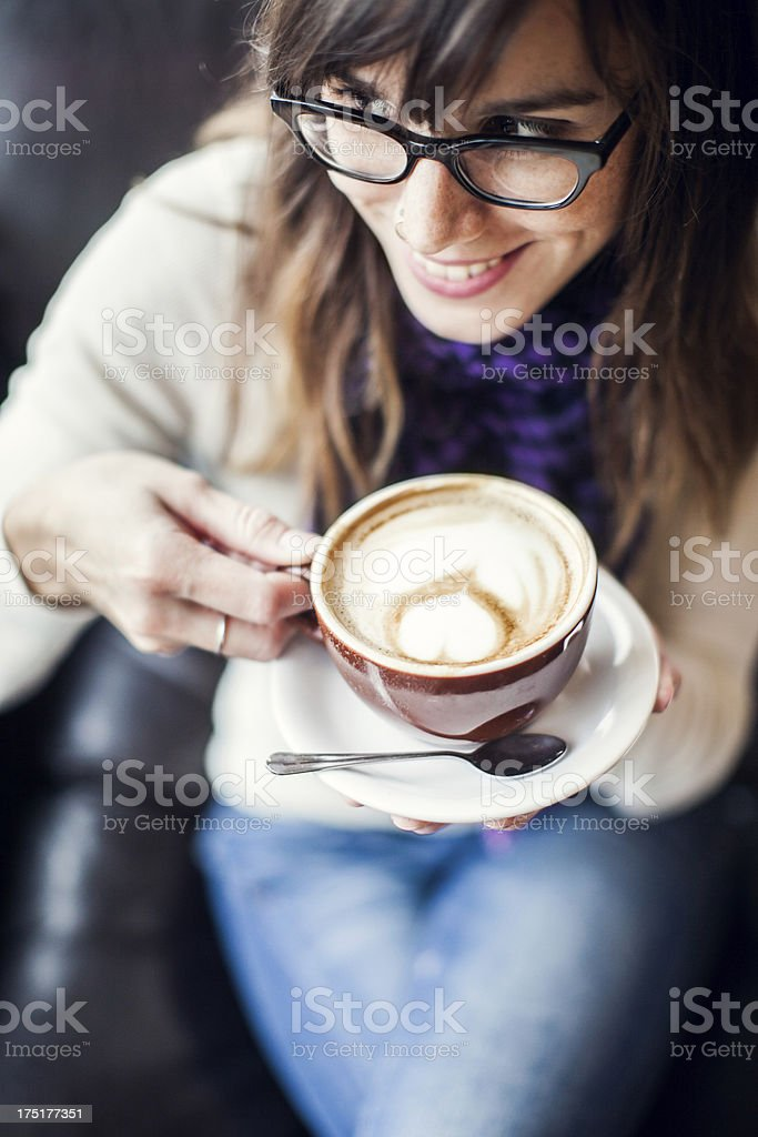 Content Woman with Latte stock photo
