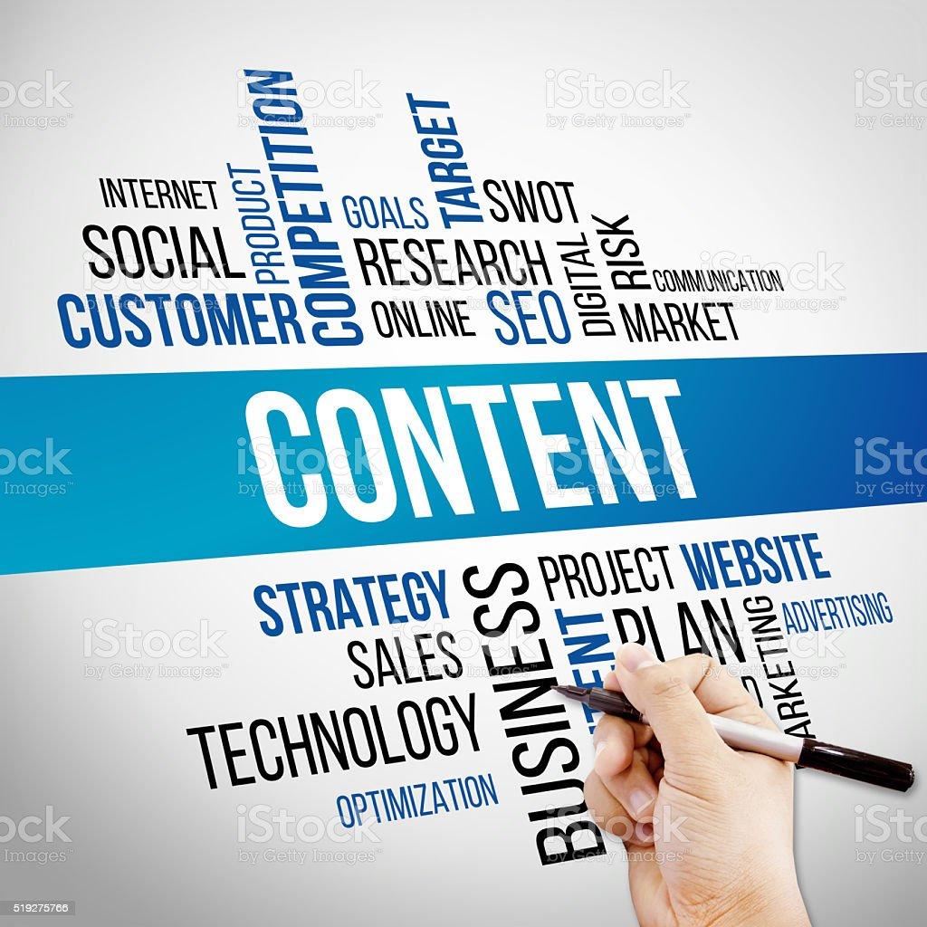 Content Word Cloud, business Concept stock photo