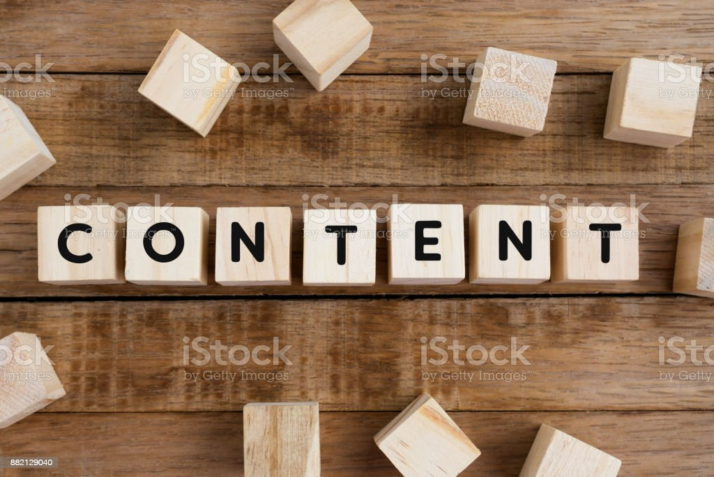 Content Word on Wooden Block stock photo