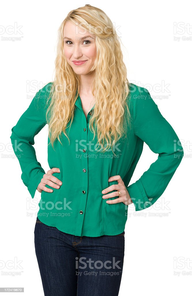 Content Young Woman Posing With Hands On Hips royalty-free stock photo