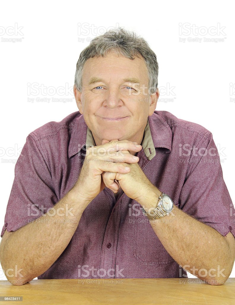 Contented Man Seated royalty-free stock photo