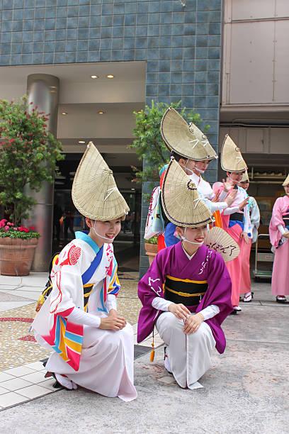 Contest of Yosakoi dancing bands stock photo