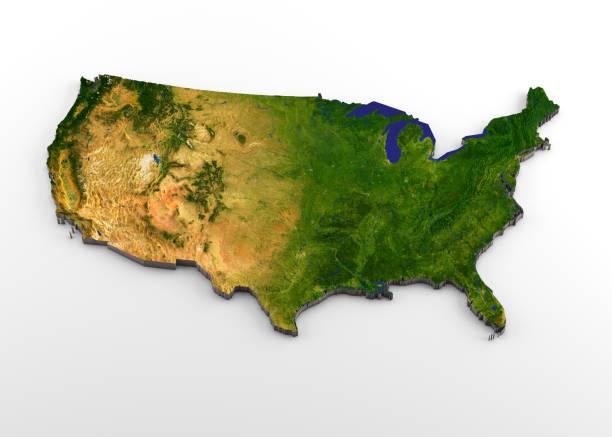 48 estados de los e.e.u.u. contiguos 3d mapa físico con relieve - us map fotografías e imágenes de stock