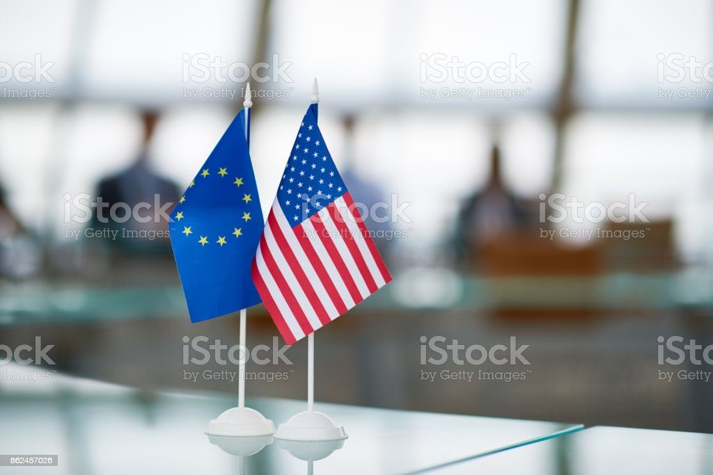 Continental and American flags stock photo