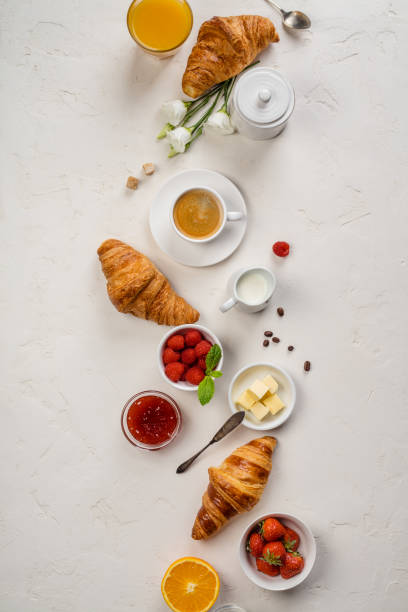 Continental breakfast captured from above, flat lay, top view stock photo