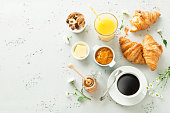 istock Continental breakfast on stone table from above - flat lay 1131097081