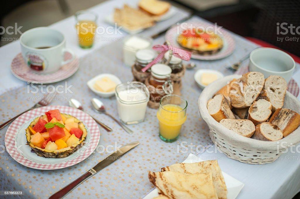 Continental breakfast table stock photo