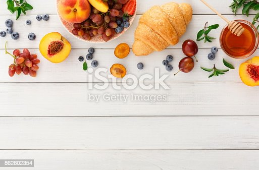 863562090istockphoto Continental breakfast with croissants and berries on white wood 862602354