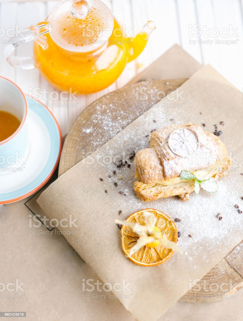 Continental breakfast with croissants, orange juice and coffee or tea royalty-free stock photo