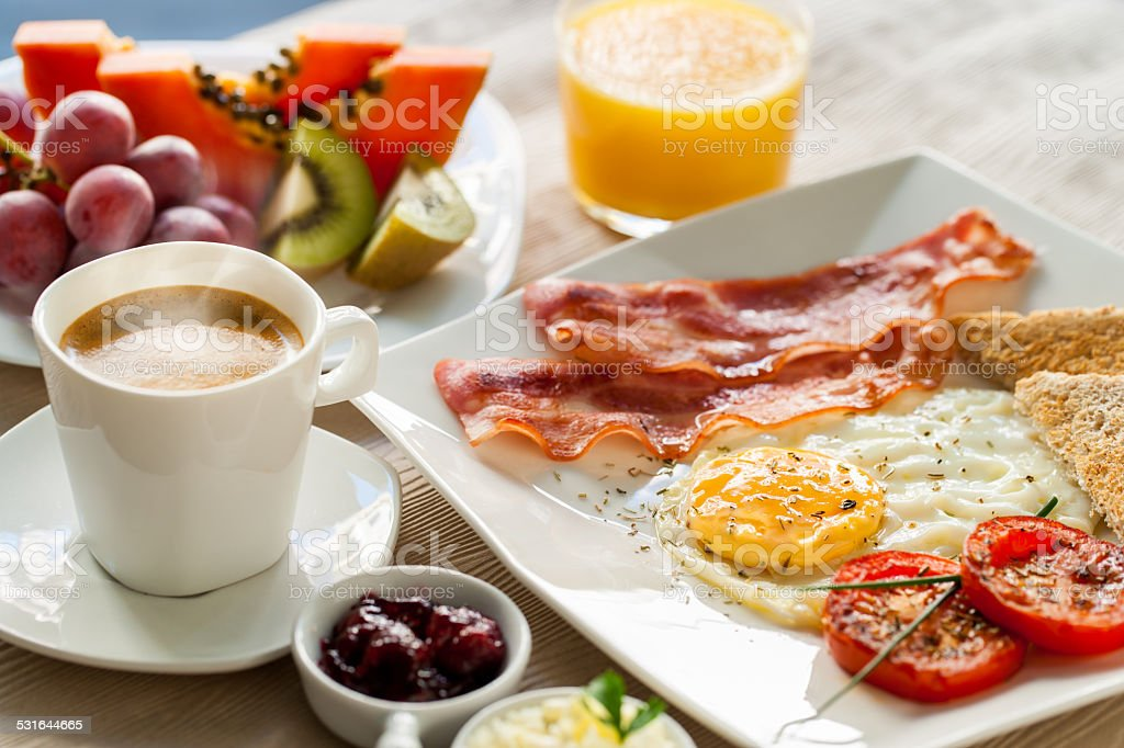 Continental breakfast with fresh fruit. stock photo