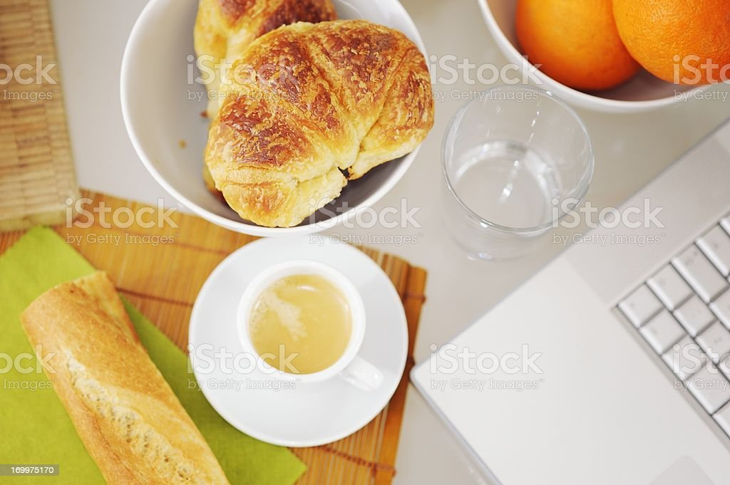 Continental Breakfast with Laptop from Above royalty-free stock photo