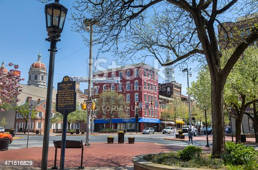York, Pennsylvania, USA - April 24, 2013: A beautiful, sunny spring afternoon on Continental Square in York, Pennsylvania (Market and George Streets).