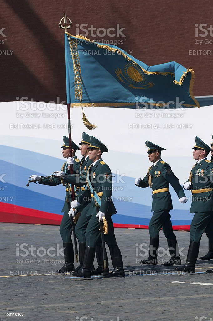 Contingent from the Kazakhstan military royalty-free stock photo