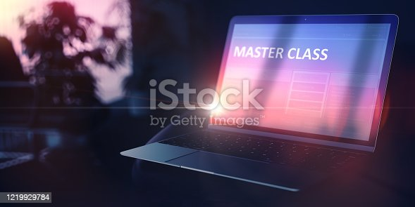Master Class on Modern Portable Notebook. Further Education Concept. 3D Illustration.