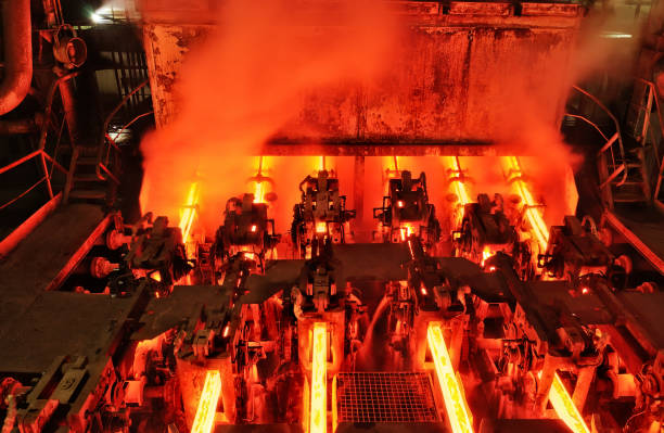 continuous casting machine at metallurgical plant - metallurgy stock photos and pictures