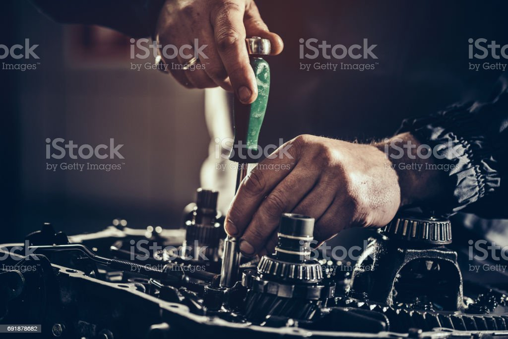 Continuously variable transmission repair close-up stock photo