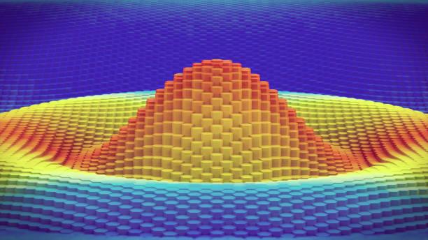 3D contour graph wave pattern extreme close up stock photo