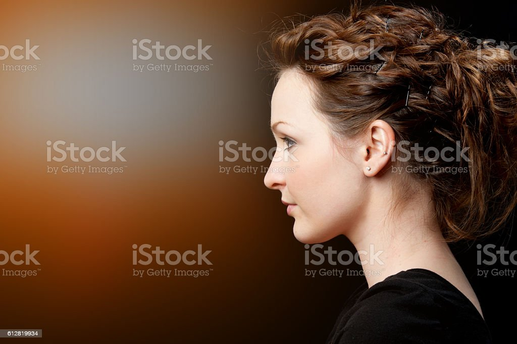 Contour Style Beautiful Youg Woman Profile Stock Photo   Download Image Now   iStock