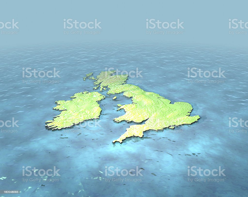 3D contoured map of United Kingdom on the sea stock photo