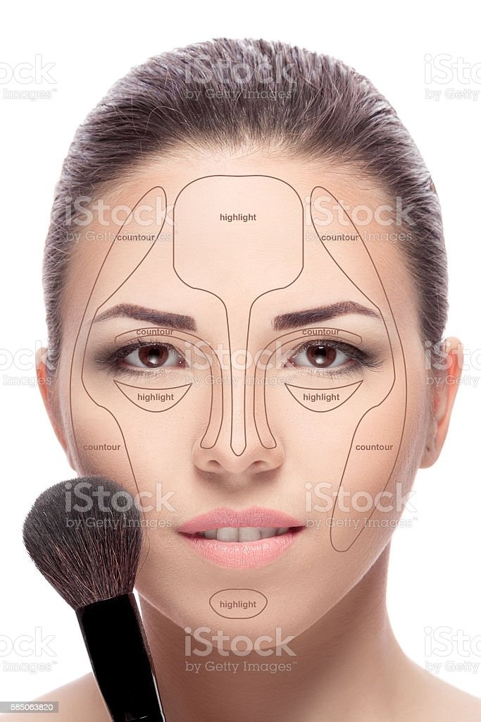 Contouring. Make up woman face. stock photo