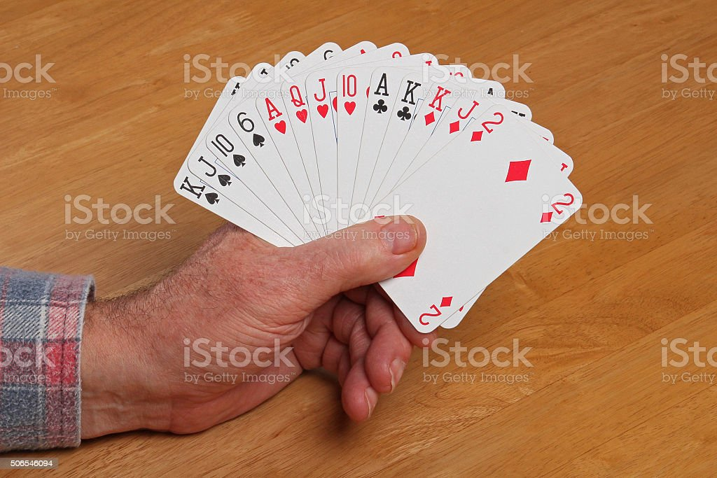 ACOL Contract Bridge Hand. Opening 1NT. stock photo
