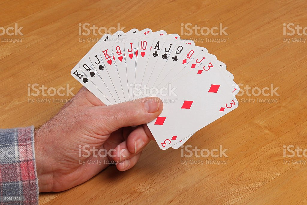 ACOL Contract Bridge Hand. Opening 2NT. stock photo
