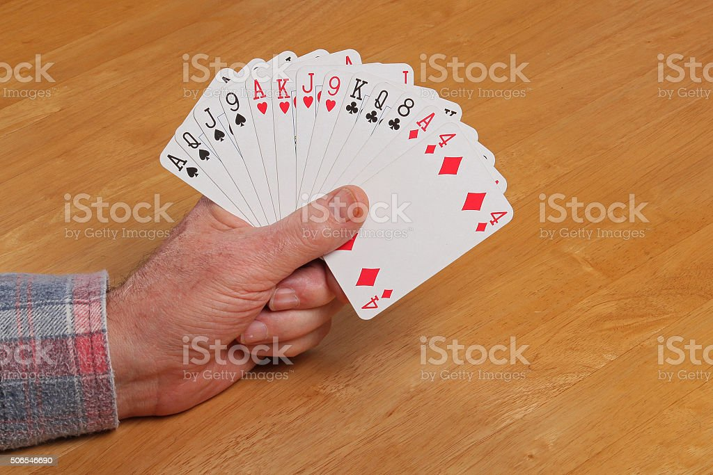 ACOL Contract Bridge Hand. Opening two clubs. stock photo