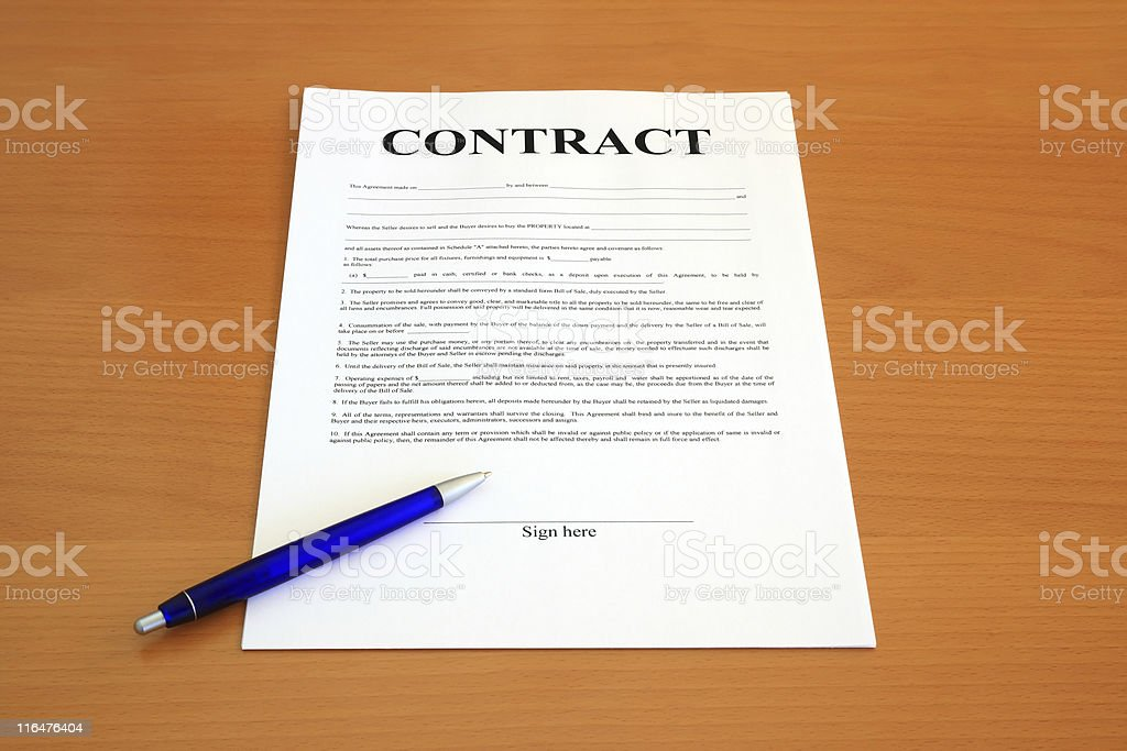Contract document (fictitious legal text) royalty-free stock photo