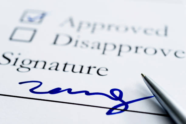 contract for signature - permit stock photos and pictures